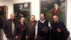 En la exposición del pintor Eduardo Mernies, realizada en Galería Palleiro, de Montevideo, el sábado 7 de mayo: Miguel Ángel Campodónico, Daniel Rovira, Eduardo Mernies, Leonardo Garet y Gerardo Ruiz.